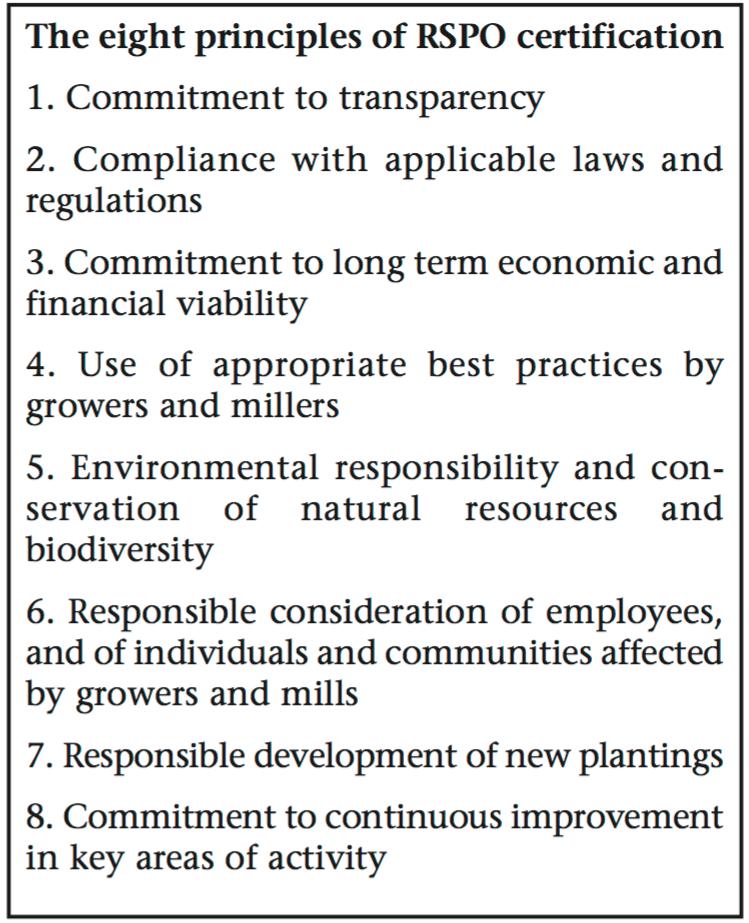 RSPO Principles and Criteria.